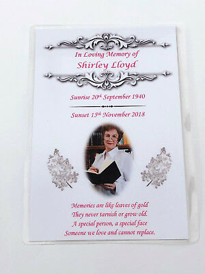 20 x Personalised A6 Funeral, Memorial, Remembrance, Keepsake cards & Seeds M5