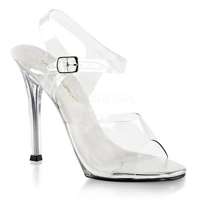 Pleaser Fabulicious Gala 01 Clear Slide Mules Bikini Competition Posing Shoes