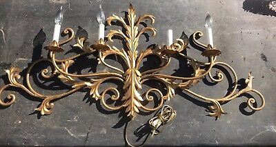 Vintage Italian Mid Century Gold Leaf Tole Metal Wall Sconce 4 Light Lamp Art