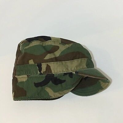 Vintage Military Camo Hat With Ear Flaps DLA-100-93-D-0371 Size 7 1/4