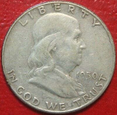 1950 Franklin Half Dollar , Circulated , 90% Silver US Coin