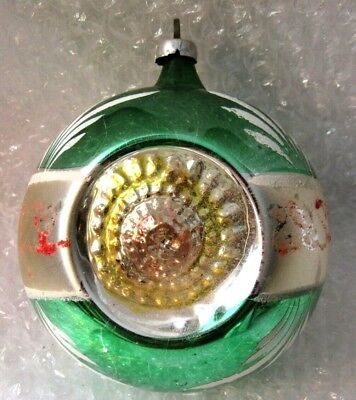 Antique Glass Christmas Ornament Triple Indent Green Hand Painted 4""