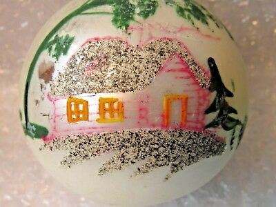 "Antique Glass Christmas Ornament Hand Painted House Trees Poland 4"" Jumbo"