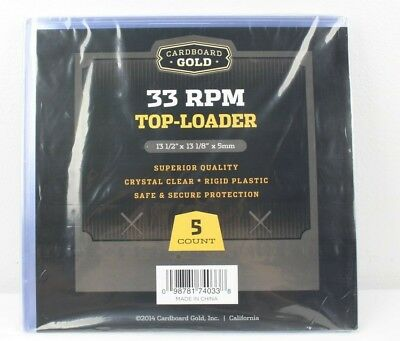 """5 Pk 12"""" Vinyl Record Top-Loader Outer Sleeves Album Covers 33rpm LP 15 Mil"""