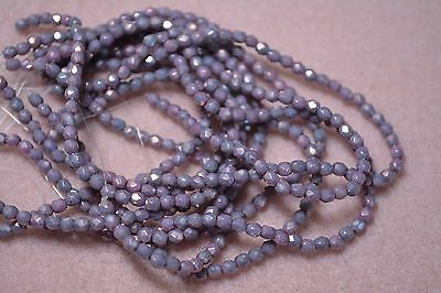 Czech Fire Polished 4mm round faceted glass beads - Opaque Luster Amethyst