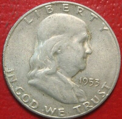 1953-S Franklin Half Dollar , Circulated , 90% Silver US Coin
