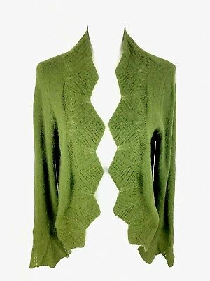 Cabi Chelsea Mohair Open Cardigan Sweater L Large Green Scalloped Bell Sleeve