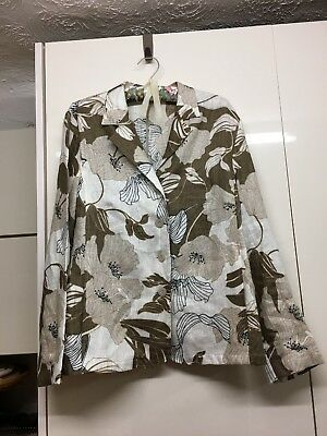 Ladies Lightweight Linen Jacket In Bold Floral Print Size 16 By Lebek Col