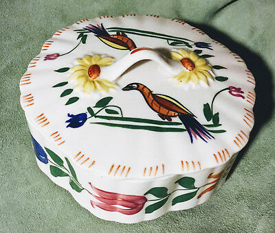 Blue Ridge Pottery - PEACOCK Covered Candy Dish