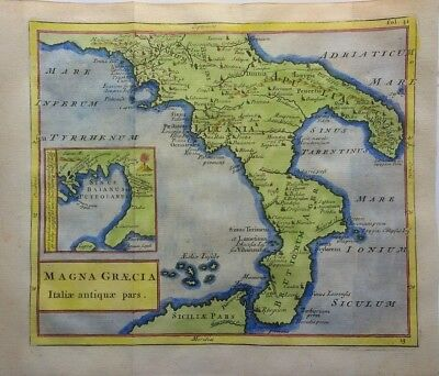 Antique Map of Southern Italy by Christoph Cellarius 1764