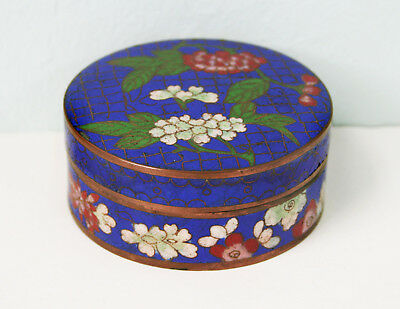 Antique Chinese Cloisonné Round Covered Box