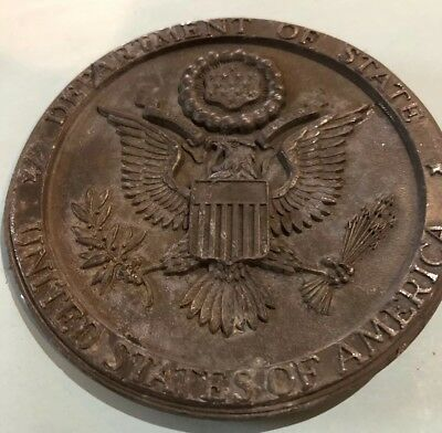 FB 6 Antique Dept. Of State Seal, White Metal Medallion