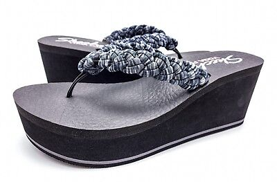 eddc8d66371b Skechers Yoga Foam Womens 7 Gray Black Platform Wedge Flip Flops Thong  Sandals