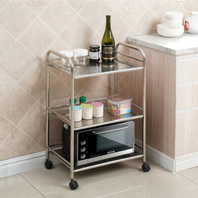 3 Shelves Kitchen Trolley Stainless Steel with wheels Beauty Salon Cart Storage