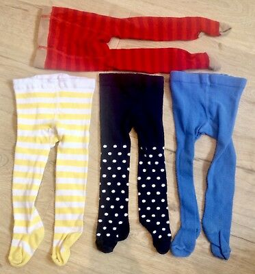 M&S Marks and Spencer 6-12 months girl tights x4 set striped Polka dot blue red