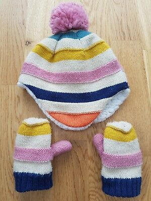 John Lewis hat gloves set 1-2 years winter fluffy knit stripe mittens fleece