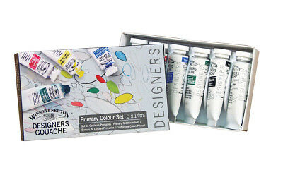 Winsor and Newton Designers' Gouache Primary Colour Set - 6 Colours, 14ml Tubes.