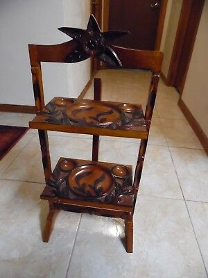Vtg.Two Tier Carved Wooden Foldable And Hinged Pie/Plant Stand Made In Haiti