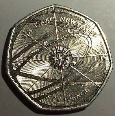 Very Rare 2017 Isaac Newton 50P In Circulated But Good Condition