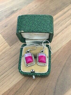 Beautiful Pair of Marked Sterling Silver & Pink Stone Dangle Earrings 7gr