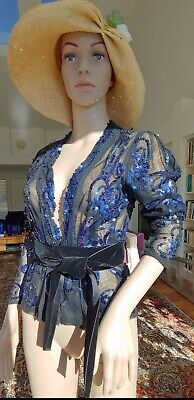 Stunning 1930's Vintage Cotton Mesh and Sequin Blouse, Excellent!