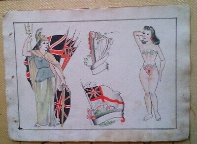 VERY RARE ANDUNIQUE ORIGINAL VINTAGE 1920-30s BOWERY TATTOO FLASH SHEET