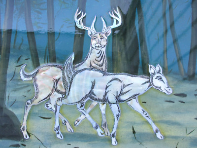 Vintage Vietnamese Lacquer Painting Mother Of Pearl Inlay Deer on Wood Wall Art