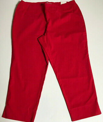PLUS SIZE WOMEN\'S Dress Pants Pull-On DALIA Stretch Red Solid Crop ...