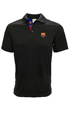 Fc Barcelona Black Adult Premium Polo Shirt Small-Xxl Officially Licensed