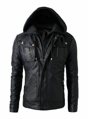 New Men's Motorcycle Brando Style Biker Real Soft Black Leather Hoodie Jacket