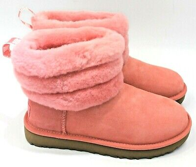 a8f9fc3bbd2 UGG AUSTRALIA FLUFF Mini Quilted Womens Suede Boot 109853 - Pink - NEW  Authentic