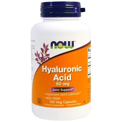 Now Foods - Hyaluronic Acid 50mg + MSM 60 or 120 Vegan Capsules - Joint support