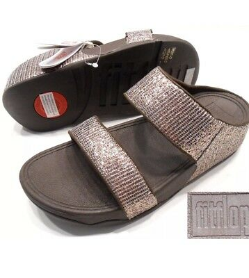 98274cc22470a Fitflop Nwt Lulu Superglitz Bronze Textile Slide Sandals Two Straps Us 9