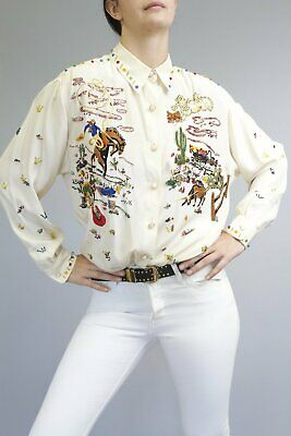 Vintage Beaded & Embroidered Western Blouse