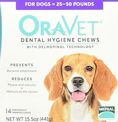 Merial Oravet Dental Hygiene Chew for Medium Dogs (25-50 lbs), Dental Treats for