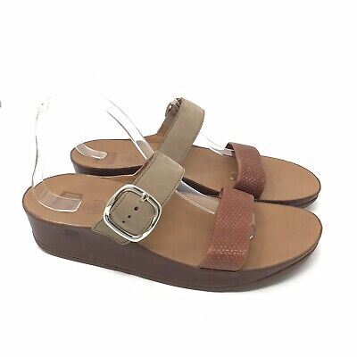 46a9c5e5c7f2b FitFlop Shoes Size 10 Womens Brown Stack Slide Double Strap Sandals Wedge