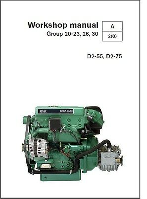 Volvo Penta D2-55, D2-75 Marine Engines Service Manual on a CD