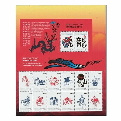 Mint 2012 Christmas Island Lunar Year Of Dragon Stamp Sheetlet Muh