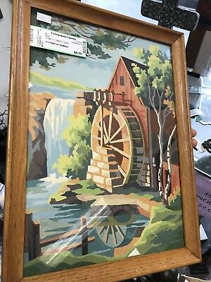 Vintage Framed Paint By Number Painting Of An Old Mill Water Wheel & Falls