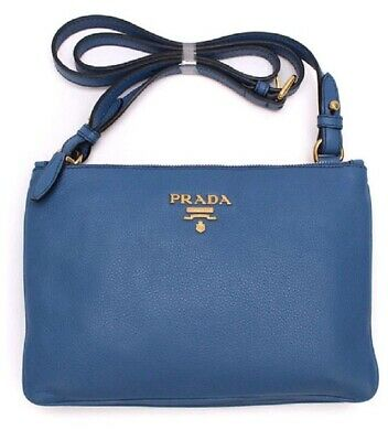Authentic  Prada Womens Royal Blue Vitello Phenix Leather Crossbody Bag  1BH046 c25eff06d36af