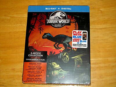 JURASSIC WORLD - 5 MOVIE COLLECTION (Blu-rays, 2018, Includes Digital Copy *NEW)