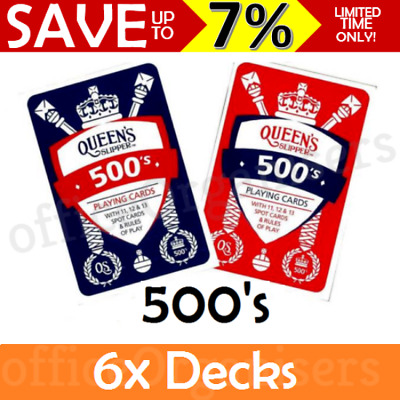 6x BULK Queen's Slipper 500's Playing Cards Casino Quality Deck & Points Game