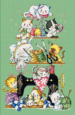Sewing Kitties - Cross Stitch Chart - Digital