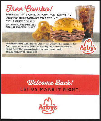 (6) Arby's Meal Passes - FREE COMBO MEAL - Fast Shipping!