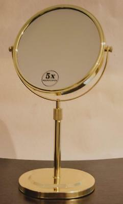 Magnifying Makeup,Mirror, Sits on Vanity 5x High Quality Jerdon,Gold ,New