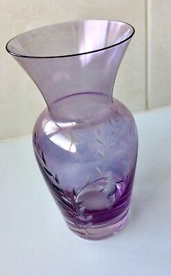 Vintage Purple Glass Vase - Caithness England - Art Glass - Etched Flowers- 1960