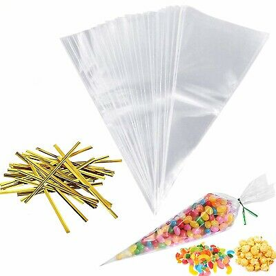 100 Clear Cellophane Cone Sweet Bags & Gold Ties Candy Kids Party Wedding Favour