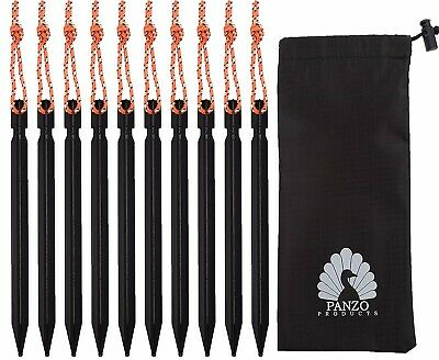 Pack Of 10 Black Aluminium Alloy Tent Pegs, Heavy Duty 18cm Lightweight Stakes