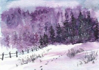 ACEO winter painting original Woodland snow trees landscape watercolour art card