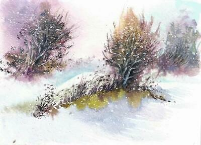 ACEO original Winter painting snow Woodland trees landscape watercolour art card